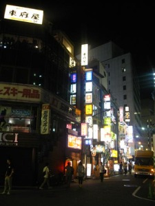 Its always bright and exciting in Tokyo, any day of the week. Mostly in the city centres, like Shinjuku and Ikebukuro.